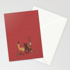 Rabbits, foxes and roe deers - red Stationery Cards