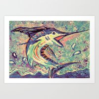 Jumping Marlin Art Print