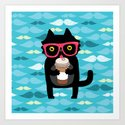 Black cat + coffee Art Print