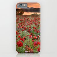 Poppies at the lake at sunset iPhone 6 Slim Case