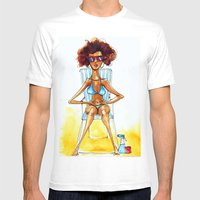 Sunbathing Mens Fitted Tee White SMALL