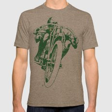 Motorcycle Board Track Racer 2 Mens Fitted Tee Tri-Coffee SMALL