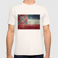 Mississippi State Flag -… Mens Fitted Tee Natural SMALL
