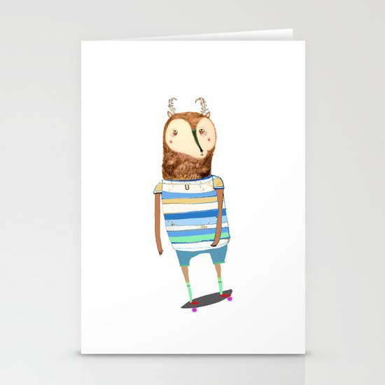 Deer, deer art, deer print, deer illustration, skateboard art, skateboarder,  Stationery Card