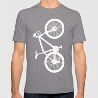 Mountain Bike Green Mens Fitted Tee Tri-Grey SMALL