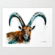 Art Print featuring Alpine Ibex  by Slaveika Aladjova