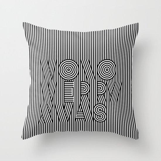 Mono Merry Xmas Throw Pillow