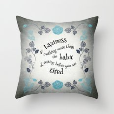 Lazy Floral Rest In Grey… Throw Pillow