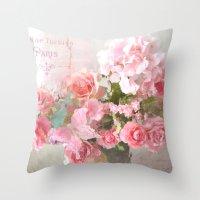 Paris Impressionistic Roses Throw Pillow