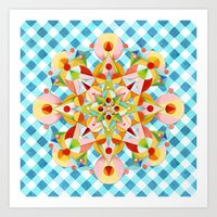 Blue Gingham Pastel Mandala Art Print