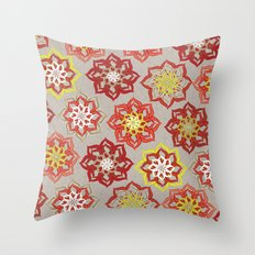 Multi Red Flowers Throw Pillow
