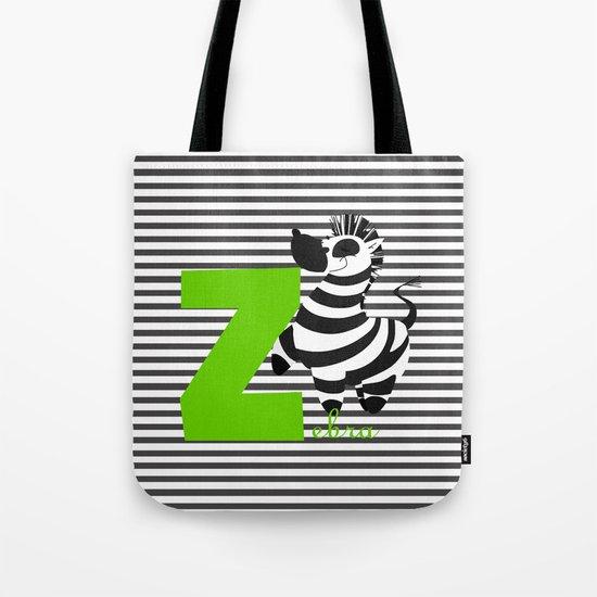 z for zebra Tote Bag