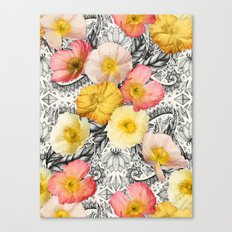 Collage of Poppies and Pattern Canvas Print