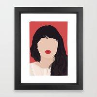 Zooey Deschanel Portrait Framed Art Print