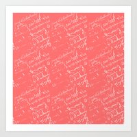French Script On Coral Art Print