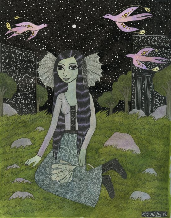 Girl on the Edge of Town Art Print