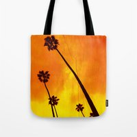Orange Palm Trees Tote Bag