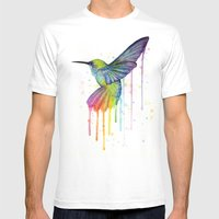 Hummingbird Watercolor Mens Fitted Tee White SMALL