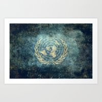 The United Nations Flag - Vintage version Art Print