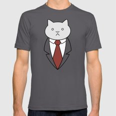 Business Cat Mens Fitted Tee Asphalt SMALL