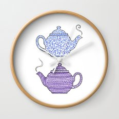 Patterned Teapots Wall Clock