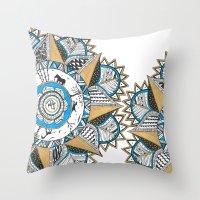 Gold & Turquoise Mandala Throw Pillow