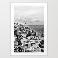 Cinque Terre BW Art Print