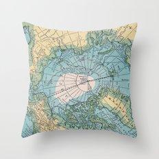 Vintage Arctic Map Throw Pillow