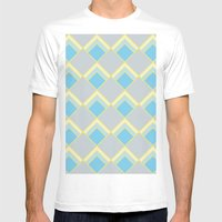 Diamond Art Deco; - Blue Mens Fitted Tee White SMALL