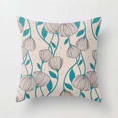 Blue Stem Flowers Throw Pillow