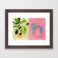 Plant and Pink dog Framed Art Print