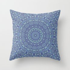 Shades of blue mandala Throw Pillow
