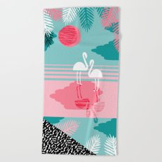 Chill Vibes - memphis retro throwback 1980s 80s neon pop art flamingo paradise socal vacation  Beach Towel