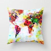 Abstract World Splatter Map Throw Pillow