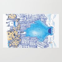 Monster in the city Rug