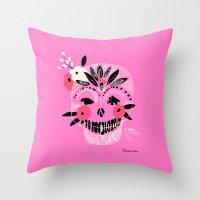 Tribal Boho Skull Throw Pillow