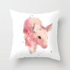 pig, piglet, piggy wiggy went to market, this little piggy, pink, nursery decor Throw Pillow