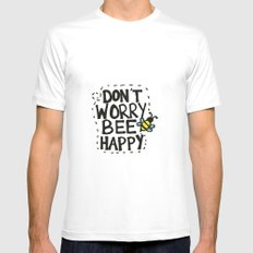 BEE Happy White Mens Fitted Tee SMALL