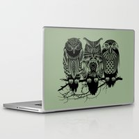 owls Laptop & iPad Skins featuring Owls of the Nile by Rachel Caldwell