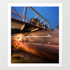Freight Train in Motion Art Print