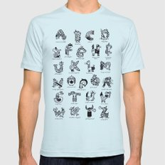 A to Z animals Mens Fitted Tee Light Blue SMALL