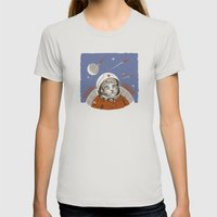 Soviet Space Cat Womens Fitted Tee Silver SMALL