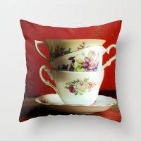 Vintage Tea Throw Pillow