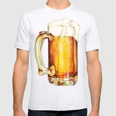 Beer Pattern Mens Fitted Tee Ash Grey SMALL