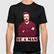 Be A Man  |  Ron Swanson Mens Fitted Tee Tri-Black SMALL