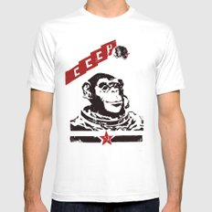 Soviet Space Monkey Mens Fitted Tee SMALL White
