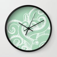 Octopus - Seafoam And Wh… Wall Clock