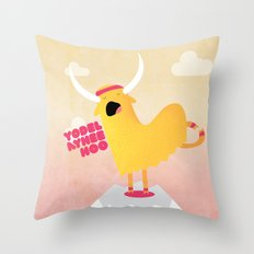 Yappy the Yodelling Yoga Yak Throw Pillow