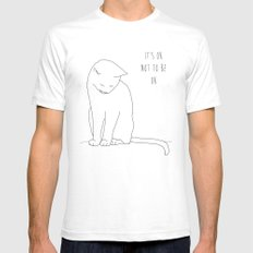 IT'S OK CAT White Mens Fitted Tee SMALL