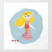 zelda Art Prints featuring Zelda by Amanda Chronister